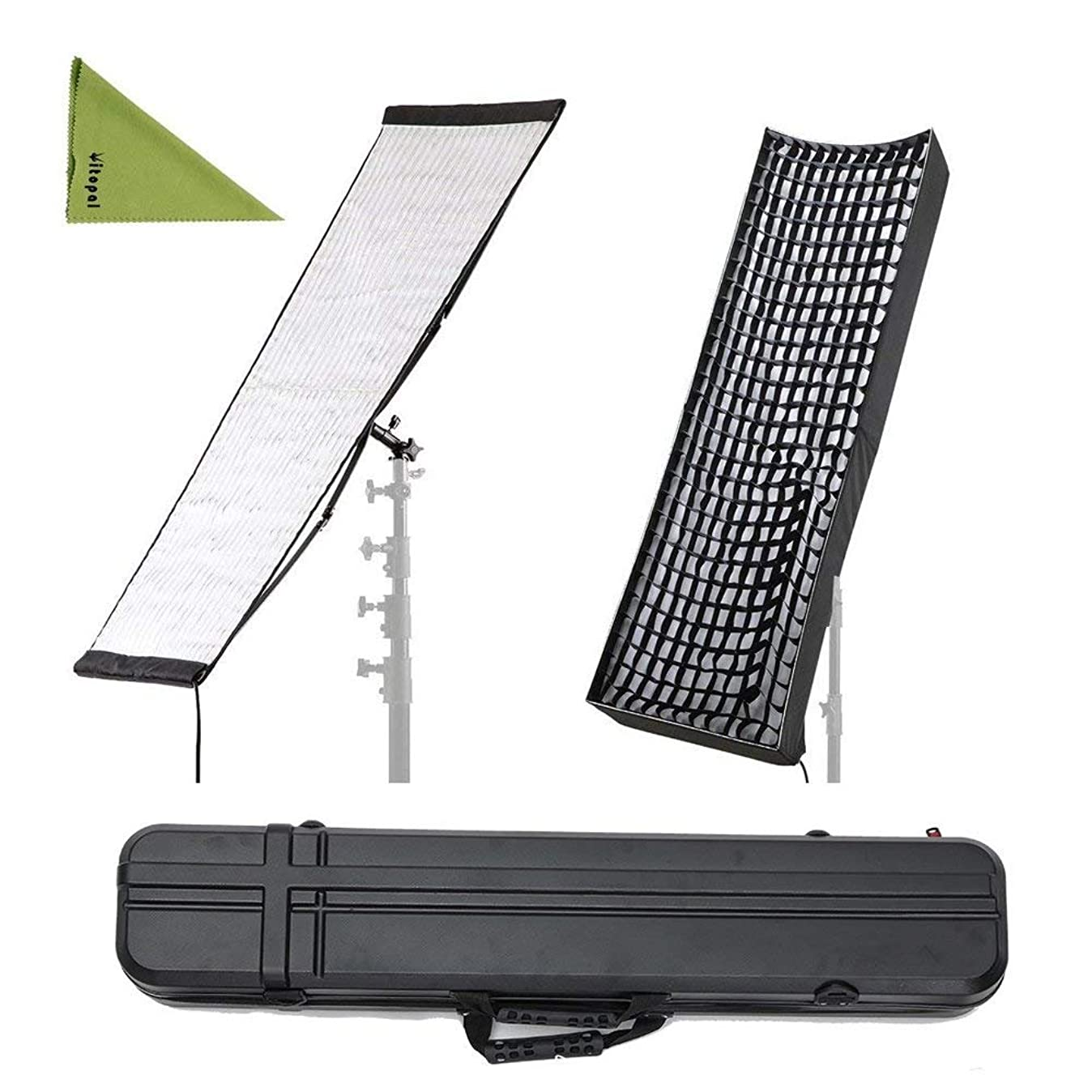 Falcon Eyes RX-36TDX 250W Flexible LED with RX-36SBHC Honeycomb Grid Softbox Dimmable 3000K-5600K LED Portable Light Compatible with DMX 512 thctwpicd