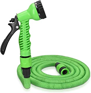 Navaris 25ft Expandable Garden Hose - Flexible Water Pipe with Double Latex Core, 7 Pattern Spray Gun, Braided Outer Layer - Small No Kink Hose