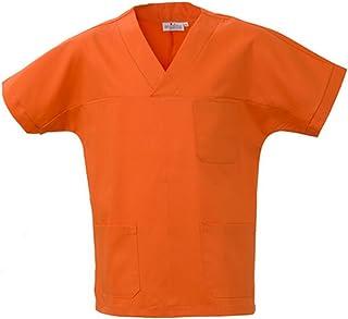 Angiolina Camice Casacca Uomo Donna A V per Medico Infermiere Verde Acido MS1401