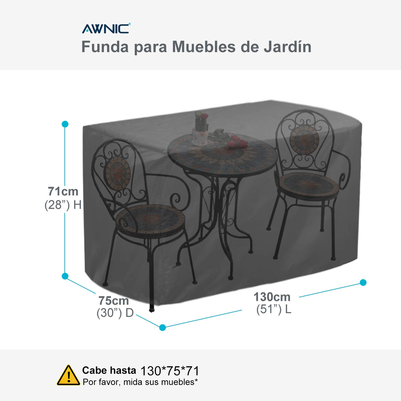 Awnic Funda Muebles de Jardín Funda Bistrot Mesa Sillas Café Exterior Impermeable Resistente 130X75X71cm: Amazon.es: Jardín