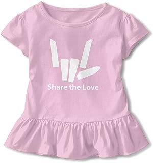 nongsha Kid T Shirt Share The Love 3D Tee Baseball Ruffle Short Sleeve Cotton Shirts Top for Girls Kids