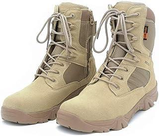 Y-PLAND Zapatos tácticos de Campo de Batalla de montañismo, Botas Altas de Combate del Desierto, Zapatos de Senderismo Imp...
