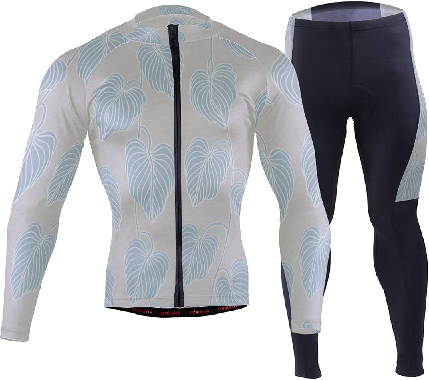 FAJRO Big Leave Cirrus Pattern Sportswear Suit Bike Outfit Set Breathable Quick Dry 3D Padded Pants