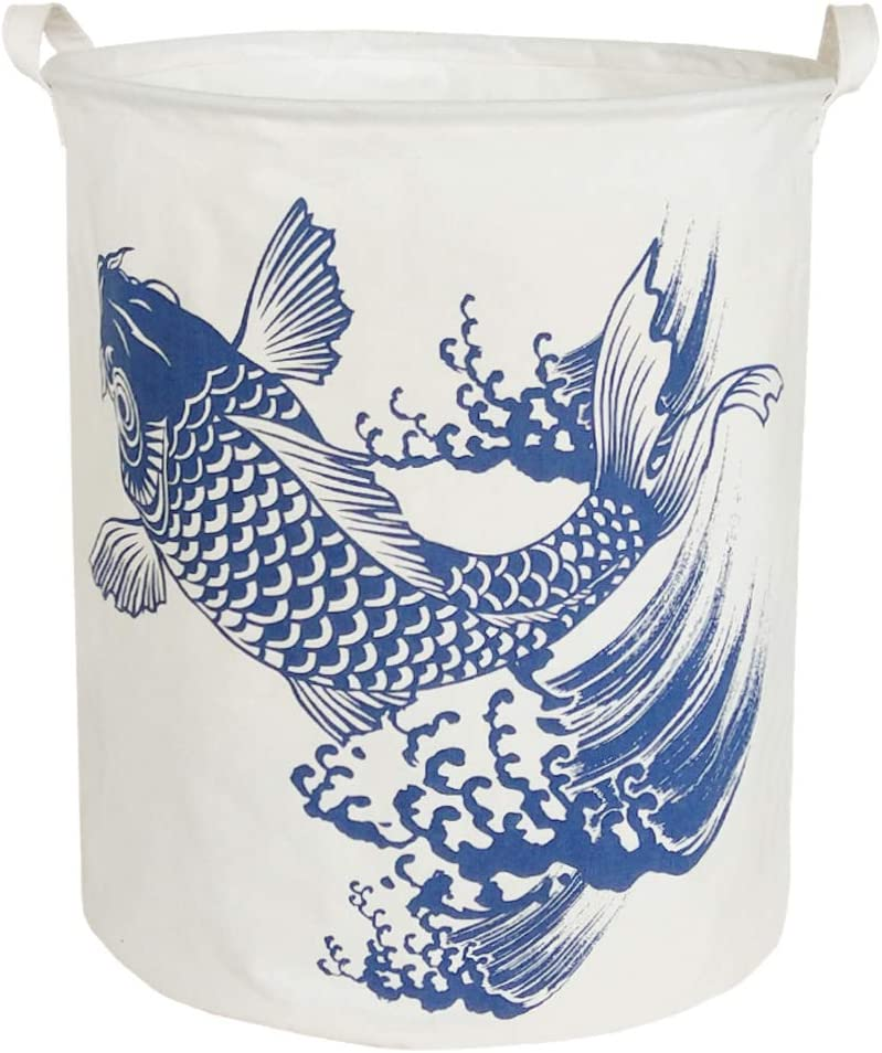 BOOHIT Cotton Fabric Storage Bin,Collapsible Laundry Basket-Waterproof Large Storage baskets,Toy Organizer,Home Decor (Fish)