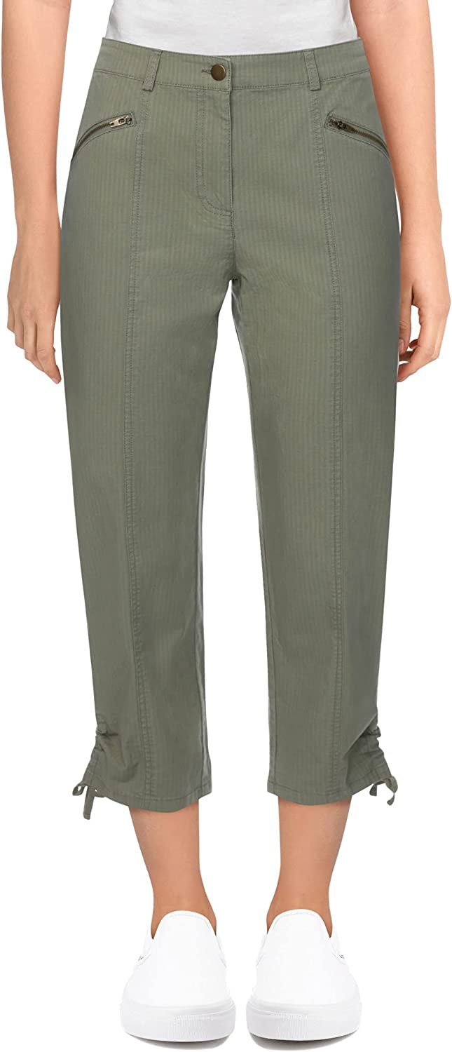 Ruby Rd. Women's Plus-size Mid-Rise Soft Fly-Front Ripstop Cargo Capri with Rushed Hem