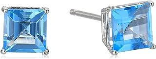 10k White Gold Princess-Cut Gemstone Stud Earrings