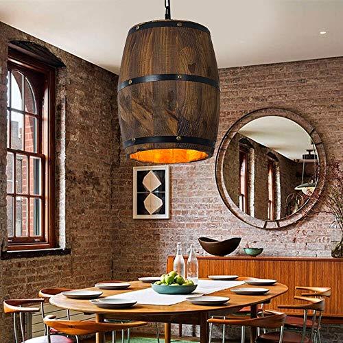 OUKANING Colgante madera vino barril accesorio techo colgantes lámpara iluminación retro industrial madera vino barril colgante techo lámpara lámpara lámpara bar luz