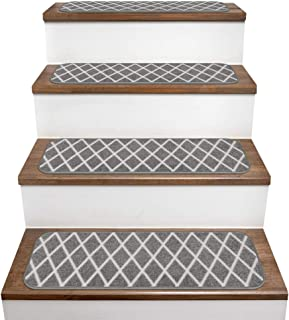 House, Home and More Set of 15 Skid-Resistant Carpet Stair Treads – Diamond Trellis Lattice – Misty Gray & Linen White – 9 Inches X 36 Inches