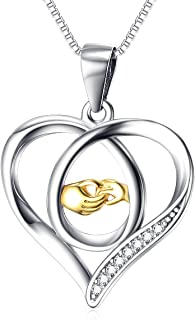 YFN Mother and Child Hands Eternal Love Heart Sterling Silver Pendant Necklace, 18