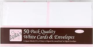 Anita's 50 x Square 13.5cm Quality Plain White Card Blanks + Matching Envelopes