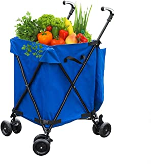 KTYXDE Folding Shopping Cart 4 Wheels, Folding, Sliding Cart, Lightweight Shopping Trolley, Climbing Cart, Shopping Trolley,L45xW56xH95cm,Bearing Weight 30kg Trolley (Color : Blue)