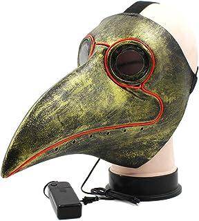 chenpaif LED Médico Plaga Médico Máscara Pico Pájaro Nariz Larga Steampunk Fiesta de Disfraces de Halloween Cosplay Props Oro