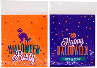 Happy Halloween Party Pumpkin and Cat Trick or Treat Candy Cookie Gift Bags, 2 Type, Pack of 95