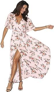 Azalosie Women Wrap Maxi Dress Floral Short Sleeve Flowy Slit Tie Waist Summer Beach Party Wedding Dress