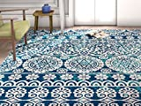Well Woven Firenze Dorothea Modern Vintage Mosaic Tile Work Distressed Blue Area Rug 3'3' x 5, 3'3' x 5',