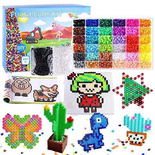 FEPITO 36 Farb-Sicherungsperlen-Kit, 11000 Stück 5 mm Eisenperlen für DIY-Kunsthandwerk mit Steckbrett, Musterkarten, Pinzette, Kette, Bügelpapier