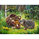 Kits Pintura de Diamante Completo Cesta setas Forest Hedgehog,5D DIY Diamond Painting adulto Grande Punto de Cruz Bordado Diamante de imitación cristal Arte Decor de Pared Hogar 70x100cm,27.5x39.9in
