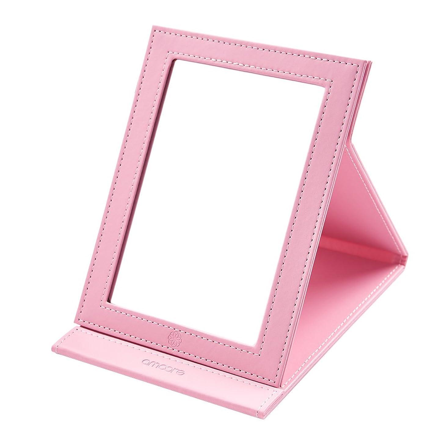 嫌な服を着る効能あるamoore 化粧鏡 卓上スタンドミラー 折りたたみミラー 角度調整 上質PUレザー使用 (ビッグ, ピンク)