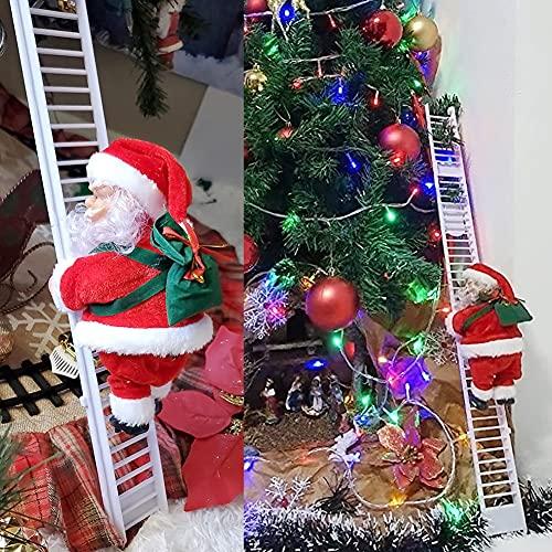 U/D Escalera Eléctrica de Escalada de Papá Noel, Eléctrico de la Que Sube de Papá Noel, Santa Claus Escalada en Escalera para árbol de Navidad Colgante Adorno para Fiesta Decoración del Hogar