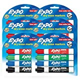 EXPO Low Odor Dry Erase Markers, Chisel Tip, Assorted Colors, 6 Packs of 4 (24 Count)