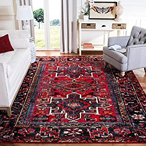 Safavieh Vintage Hamadan Collection VTH211A Oriental Traditional Persian Non-Shedding Stain Resistant Living Room Bedroom Area Rug, 6'7″ x 9′, Red / Multi