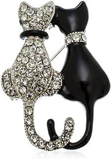 Fashion Cat Pin Rhinestone Brooch Pin Charms Inlaid Crystal Animal Breastpin Women Punk Hat Sweater Pin