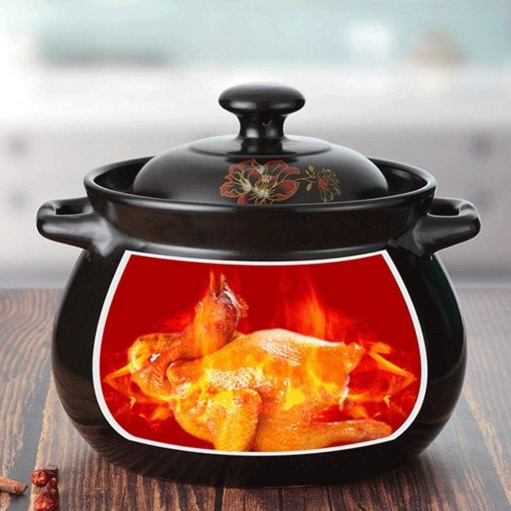 L.TSN Pot à Bouillon - Ragoût - Pot en céramique - Résistant aux acides et aux alcalis sans revêtement résistant à l'usure (Couleur: Noir Taille: Capacité 5,5 L) Noir