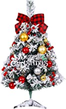 CLISPEED 1 Set Tabletop Christmas Tree Snow Flocked Mini Small Christmas Tree with Ornament for Holiday Decoration