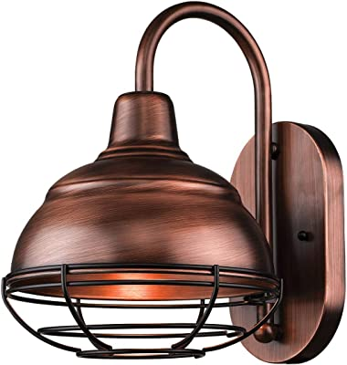 Hampton Bay 1-Light Brick Patina Outdoor Cottage Wall Lantern Sconce