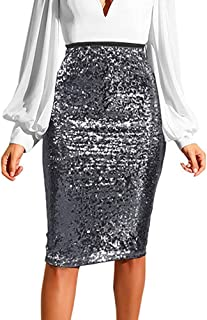 Zzdeshua Pencil Skirts for Women, Fashion Solid Slim High Waist Push up Hip Zipper Sequin Party Skirt