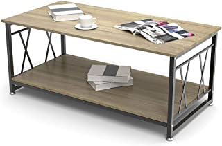 Modern Industrial Coffee Table Wood and Metal Frame, Coffee Table with Storage Shelf Rustic 47