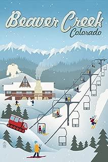 Beaver Creek, Colorado - Retro Ski Resort (9x12 Art Print, Wall Decor Travel Poster)