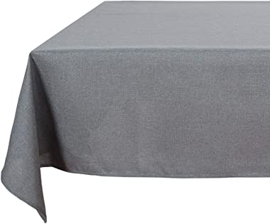 Deconovo Decorative Wrinkle Resistant Spillproof Oblong Linen Look Grey Tablecloth for Party 54x72 Inch