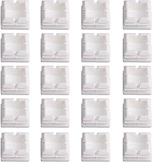 25x25mm Tubos Cuadrados Blancos Tapones de Plástico Tapas Cubiertas Tubo Silla Deslizamiento Insertar Tapones de Acabado