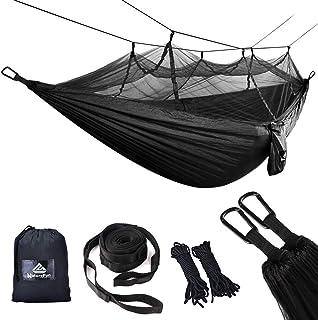 Bwiv Hamaca Ultraligera para Viaje y Camping Hamacas Colgantes Mosquiteras de Nylon Port/átil Paraca/ídas Secado R/ápido para Excursi/ón Jard/ín de Carga 300 KG 290/×140cm