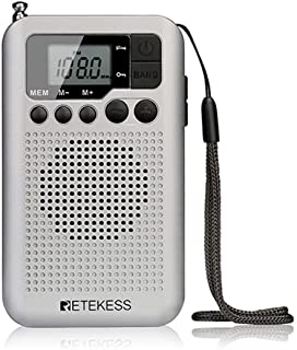 Retekess TR106 Pocket AM FM Radio, Portable Walkman Radio, with Lock Key Clock and LCD Display, Battery Operated Radio for...