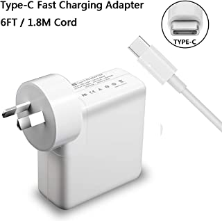 USB C Wall Charger,45W Type-C Fast Charging Adapter for MacBook Pro, MacBook Air, iPad Pro New, HP, Dell, Lenovo, Samsung Galaxy and Other USBC Powered Devices, 6ft C-C Cable Included