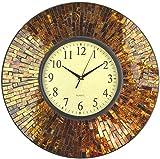 Lulu Decor, 19' Baltic Amber Mosaic Wall Clock with 9.5' Brown Arabic Glass Dial, 4.50' Mosaic Border, Silent Non-Ticking Quartz, Perfect for Housewarming Gift (LP72)