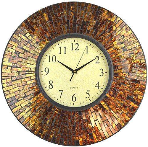 Lulu Decor, 19 Baltic Amber Mosaic Wall Clock with 9.5 Brown Arabic Glass Dial, 4.50 Mosaic Border, Silent Non-Ticking Quartz, Perfect for Housewarming Gift (LP72)