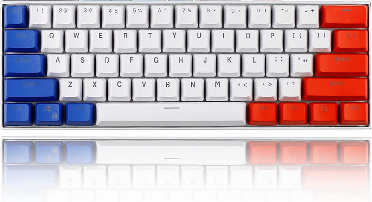 Gk61 60% Mechanical Keyboard SK61 Custom 60 Percent RGB Gaming Keyboard with Backlit Pudding keycaps Hot Swappable (Gateron Red Switch, Transparent Case)