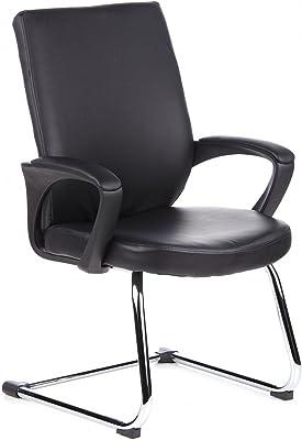 hjh OFFICE 650500 VISTO STAR Silla de confidente, piel sintética, negro cromado