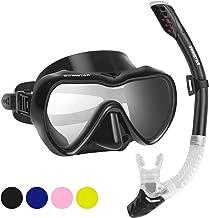 2019 Snorkel Set for women and men، Mask ماسک Snorkel شیشه ای Anti-Fog Tempered برای Snorkeling، شنا و غواصی، Snorkel دندانه دار Snorkel دندانه دندانه دندانه دار Panoramic Silicone Goggle No leak
