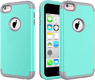 5C Case,  iPhone 5C Case. J.west Full Body Hybrid Hard PC and Soft Silicone 3-Layer Combo Shockproof Hard Case Cover for iPhone 5C - Light Blue/Grey