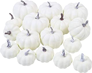 URATOT 16 Pack Assorted Sizes White Artificial Pumpkins Rustic Harvest Lifelike Pumpkins for Thanksgiving Home Garden, Fall Harvest Decor, Assorted 3.8, 3, 2.4 Inches (16, 9.5cm, 7.7cm, 6cm)