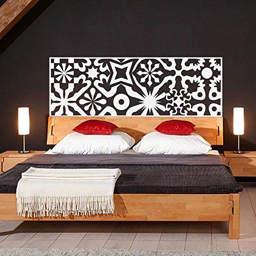 Cabecero de cama cabecero geométrico decoración abstracto cabecero de cama adhesivo decorativo para pared adhesivo para pared pared dormitorio de vinilo gráfico de pared Arte decoración, vinilo, Blanco, 21'hx60'w