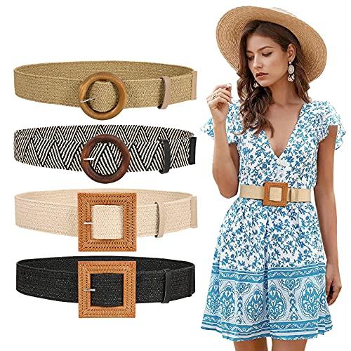 Set of 4 Women Skinny Elastic Dress Belt, Straw Woven Stretchy Waistband Fashion Wooden Style Buckle (Black+Beige+Stripe+Khaki,Waist Size Below 35 Inch)