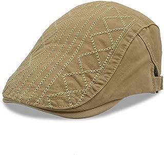 2019 Womens Hats Caps Men Quilted Satin Duckbill Cotton Adjustable Flat Cap Newsboy Gatsby Irish Hat (Color : Khaki, Size : M)