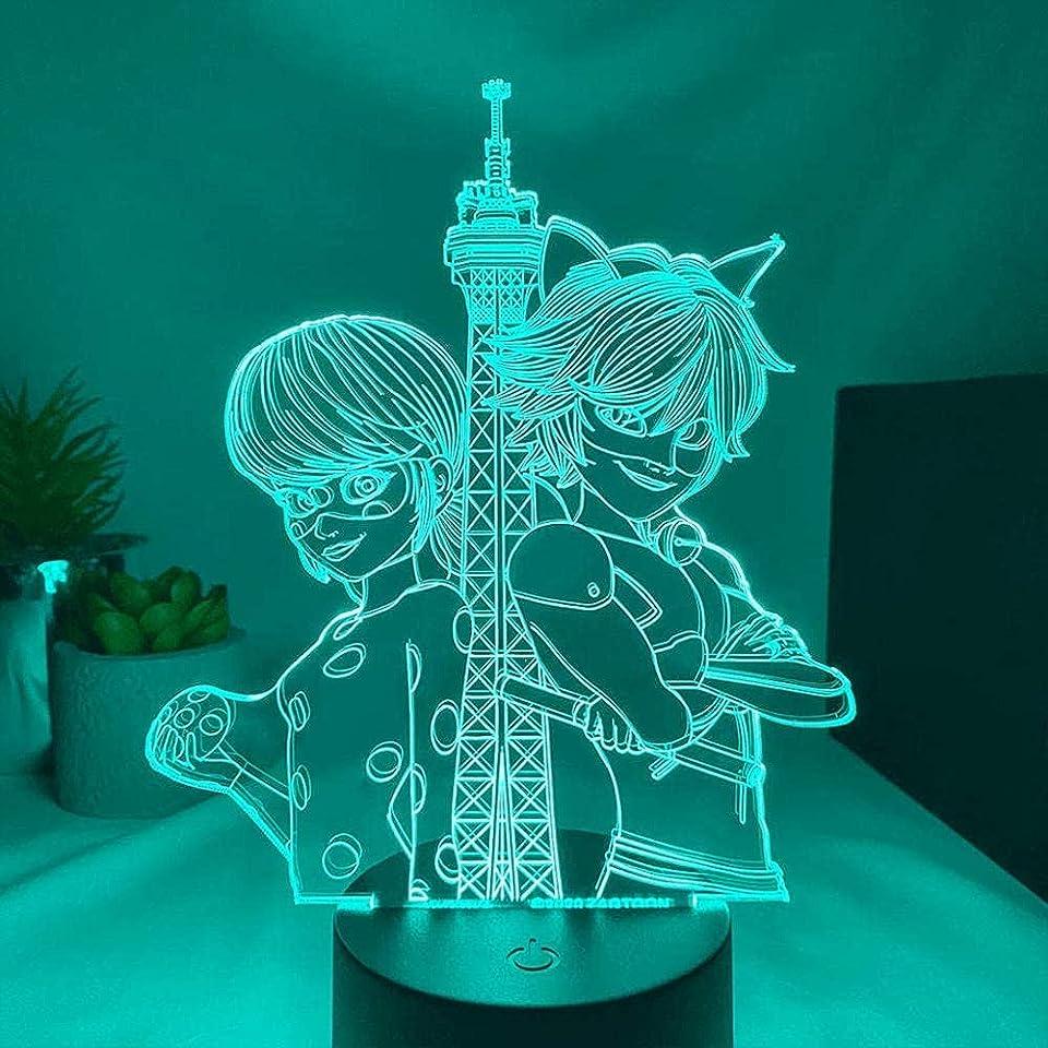 Animations lampe Figur Miraculous Ladybug und Cat Noir Led Nachtlicht für Schlafzimmer Dekor-Touch-steuerung