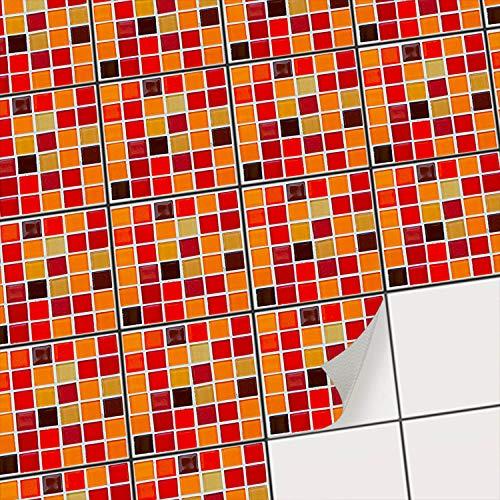 creatisto Mosaik Fliesenstickerl Fliesenaufkleber zur Wandgestaltung I Selbstklebende Fliesenbilder - Küchenfliesen und Badezimmer-Fliesen renovieren I 10x10 cm - Mosaik Rot-Orange - 9 Stück
