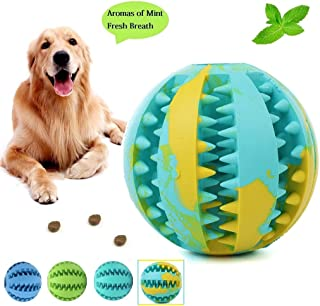 Dog Toy Ball-IQ Treat Balls-Fun Interactive Food Dispensing Dog Toys-Non-Toxic Natural Rubber Tooth Cleaning Toys for Small Medium Large Dogs Teeth Cleaning and Chewing